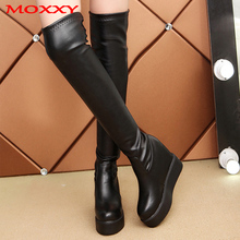 Sexy Leather Thigh High Boots Platform Winter Boots Women Over the Knee Boots Black High Heels Long Boots Fur Plush Shoes Woman