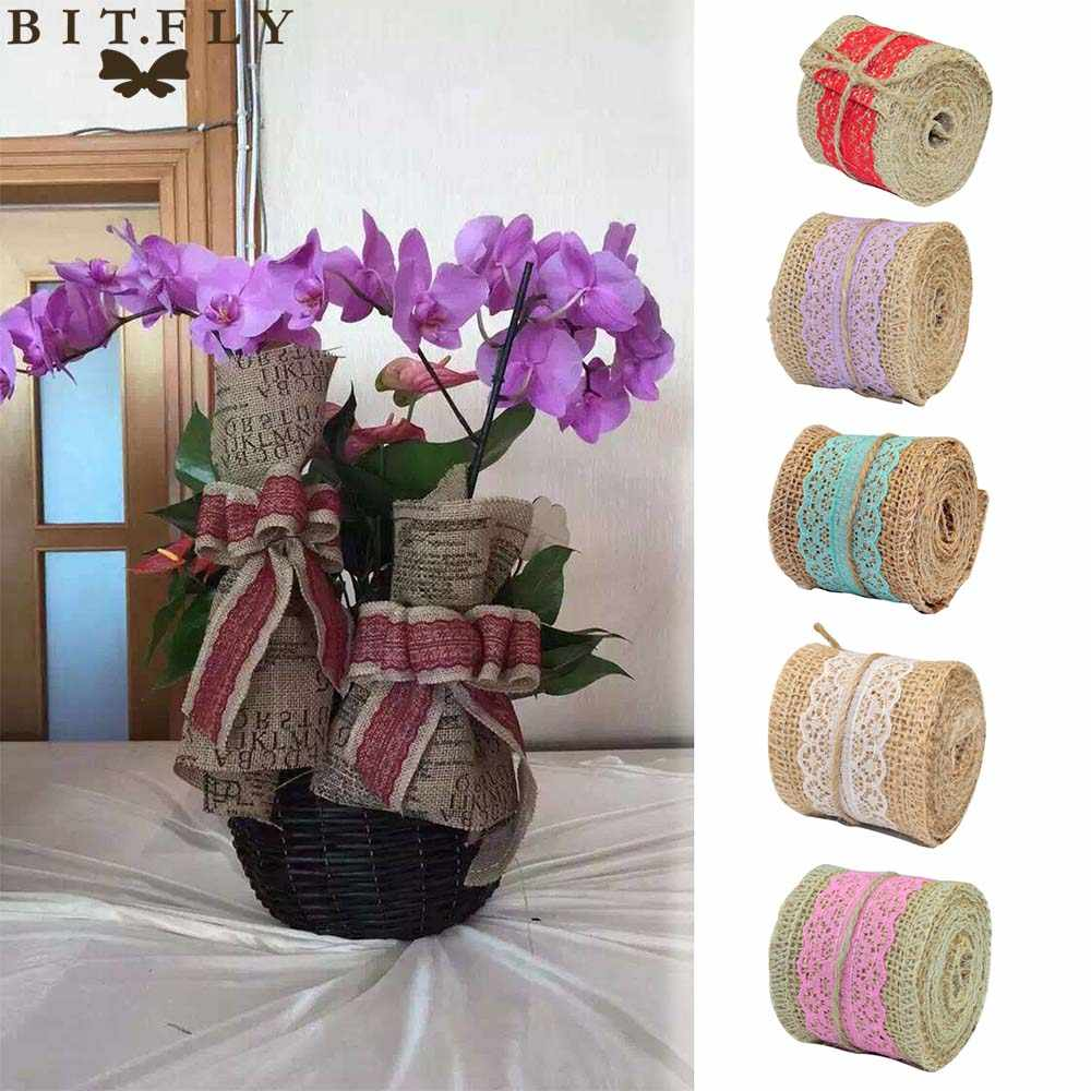 Rustic wedding decoration burlap table runner ,chair sash,hessian flowers  party chair cove table decor diy decorations supplies Party DIY Decorations   - AliExpress