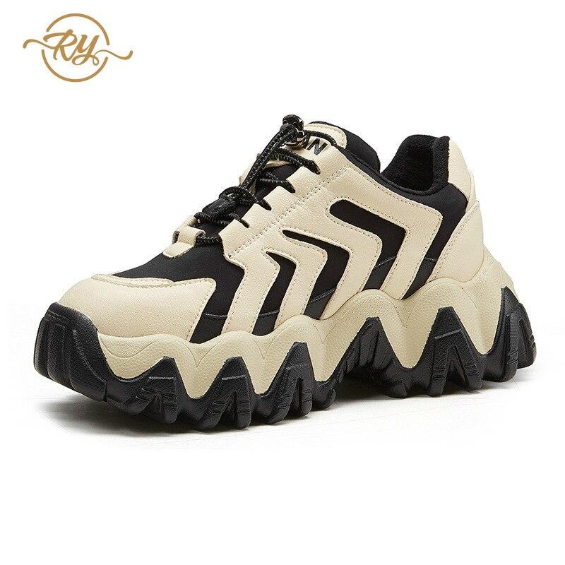 RY rella2019 automne et hiver nouvelles chaussures fumées intelligentes Hong Kong style chaussures décontractées femmes rue coup fond épais chaussures décontractées - 2