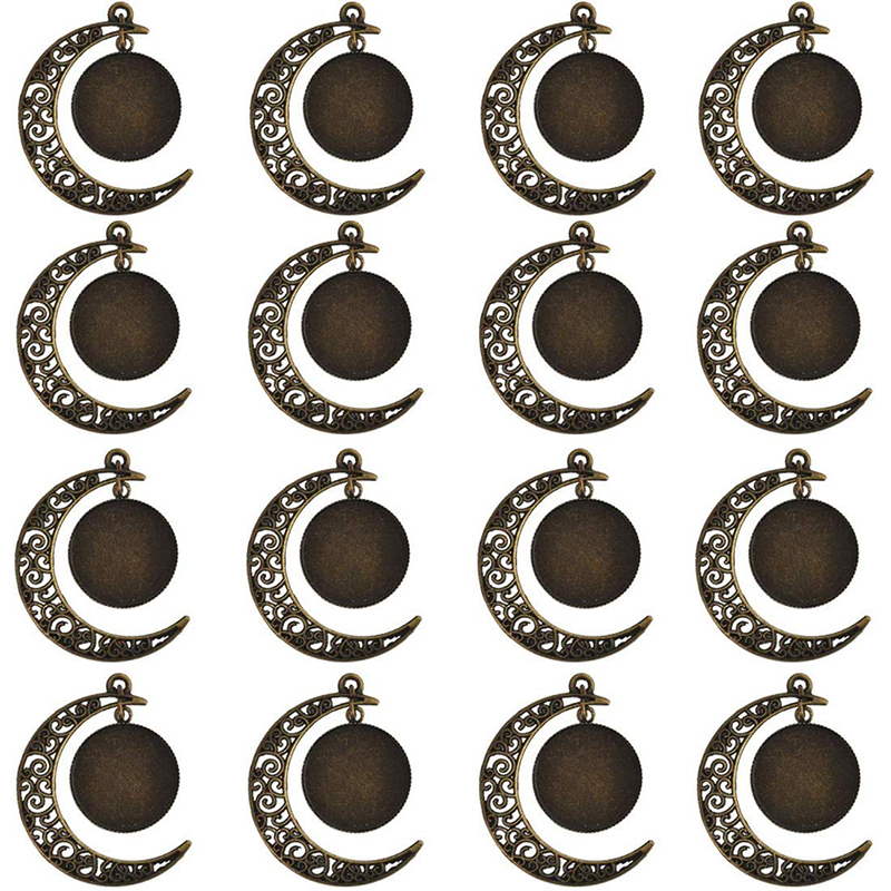 20Pcs/lot Moon Pendant Cabochon Base Setting 20mm Round Bezel Tray Blank Antique Bronze Jewelry Making DIY Necklace Components