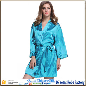 Image 5 - Silk robe satin cocktail robe wedding bridal party gift gown ladys nightgown bathrobe bridesmaid robe