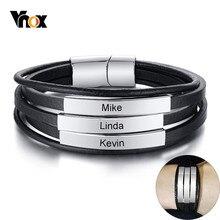 Vnox personnalisez le Bracelet de noms de famille pour les hommes Bracelet en cuir multicouche avec étiquette en acier inoxydable brillant Bracelet Punk large