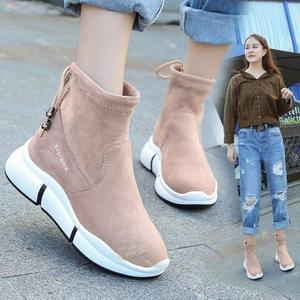 Image 3 - Женские повседневные ботинки SWYIVY, черные ботинки мартинсы на плоской платформе, без застежки, из флока, для осени, 2019