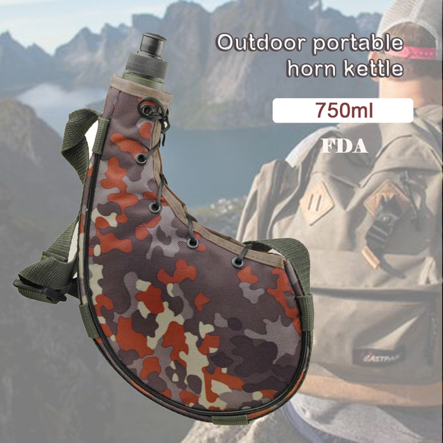 750ML outdoor portable sports bottle Camping mountaineering camouflage kettle With strap PE cold kettle Army fan outdoor kettle 3
