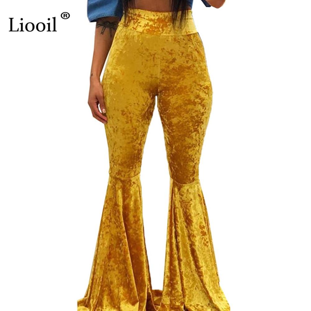 Liooil Yellow Velvet High Waist Flare Pants 2019 Autumn Winter Sexy Club Tight Trousers Women Fall Black Bell Bottom Long Pants