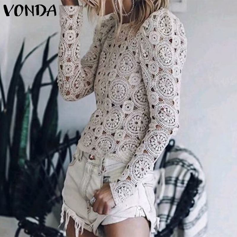 VONDA Women Tunic Vintage Hollow Tops 2020 Spring Summer Beach Blouse Long Sleeve Shirts Casual Blusas Office Lady Blouse S-5XL