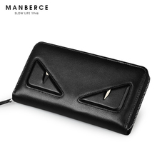 MANBERCE 2019 Men New Style Fashion Casual Genuine Leather Multi-card Wallet Zipper Trend Free Shipping Monster Series