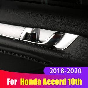 Image 1 - ABS Tampa Alça Tigela Porta Interior Guarnição Adesivos de Carro Styling Moldagem Interior Para Honda Accord X 10th 2018 2019 2020 Acessórios