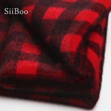 Hoge Kwaliteit Rode En Zwarte Plaid 1 Cm Pluche Fake Mink Fur Stof Voor Winterjas Vest Stadium Cosplay Diy plaid Fourrure SP5978(China)