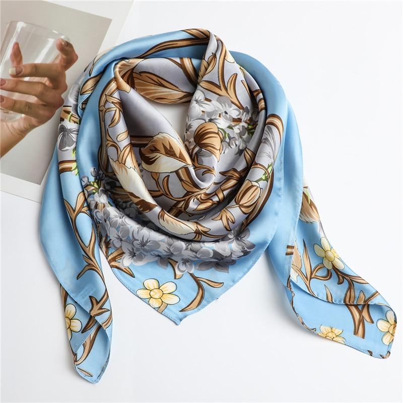 Floral Women Silk Neck Scarf Shawls Hijab Wraps Print 90cm Square Headband Foulard Shawls Pashmina Bandana 2020 Fashion