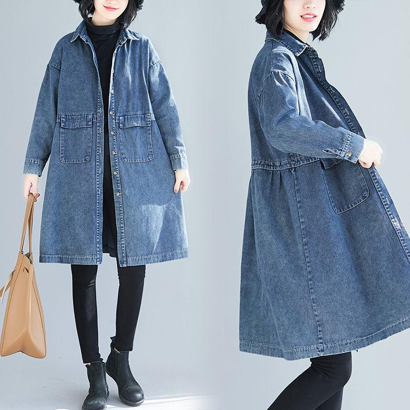 Large Size Women's Denim Windbreaker Jacket Female Spring Fall 2021 Loose Vintage Lapel Mid-Length Jaqueta Jeans Feminina zh180