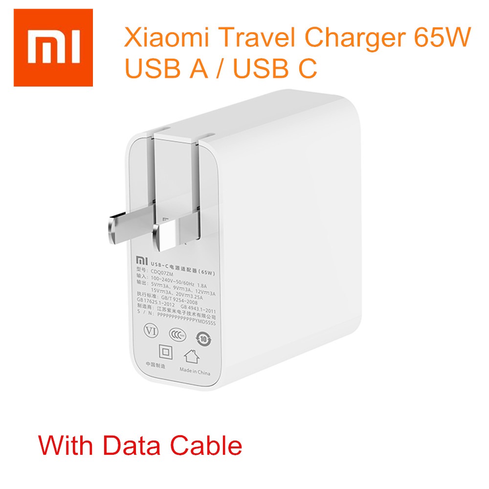 Original Xiaomi Travel Charger 65W USB C / USB A Quick Charge Output Portable Wall Charger 100-240V For Phone Laptop Notebook
