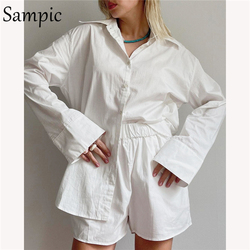 Sampic 2021 Tracksuit Women Casual Lounge Wear Long Sleeve Blouse Tops And Elastic Hight Waist Mini Shorts Two Piece Set Outfits