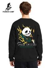 Sudaderas con capucha de invierno con estampado de Panda de campo Pioneer para hombre en blanco y negro, sudaderas gruesas de lana abrigadas para hombre AWY906382