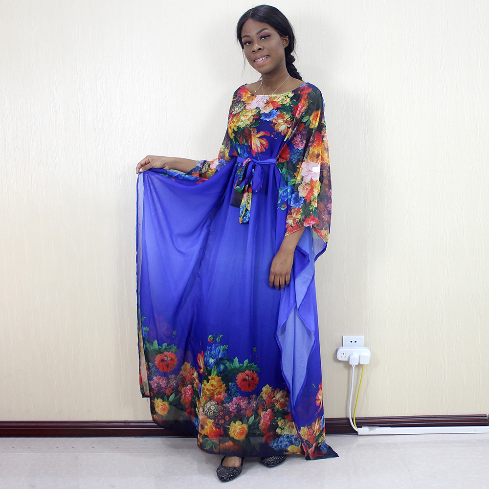 African Dashiki Blue Chiffon Flower Pattern Printed Fashion Elegant Sexy Women Dresses
