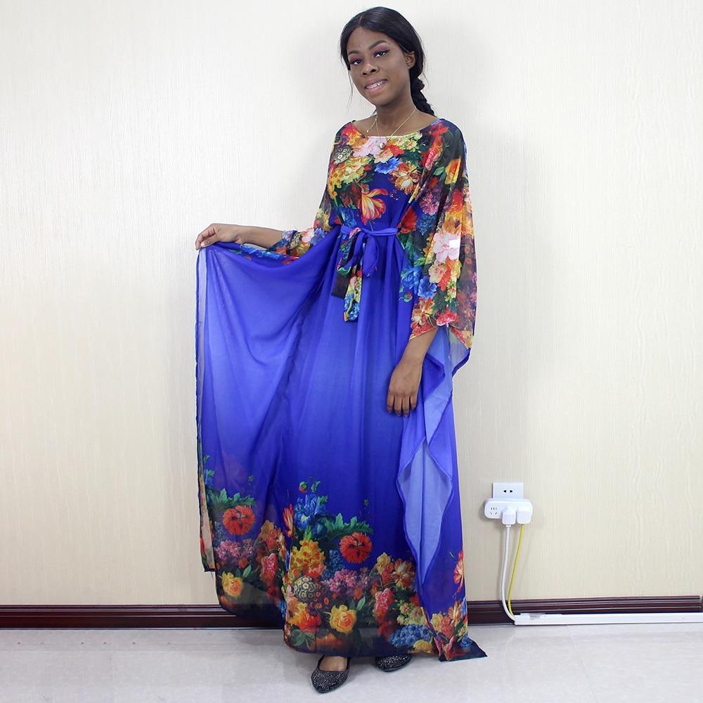 African Dashiki Blue Chiffon Flower Pattern Printed Fashion Elegant Sexy Women Dresses