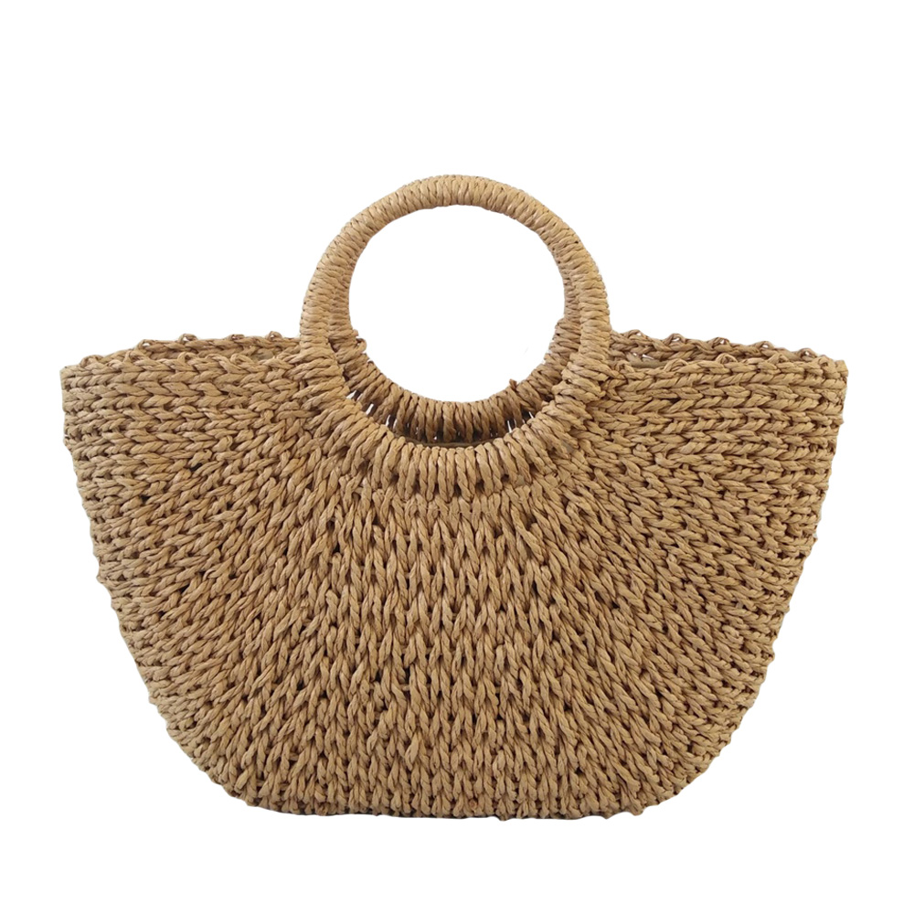 Best Selling Ladies Handbags Handmade Solid Color Woven Straw Bag Summer Ladies Casual Handbag Bohemia Vacation Travel Beach Bag