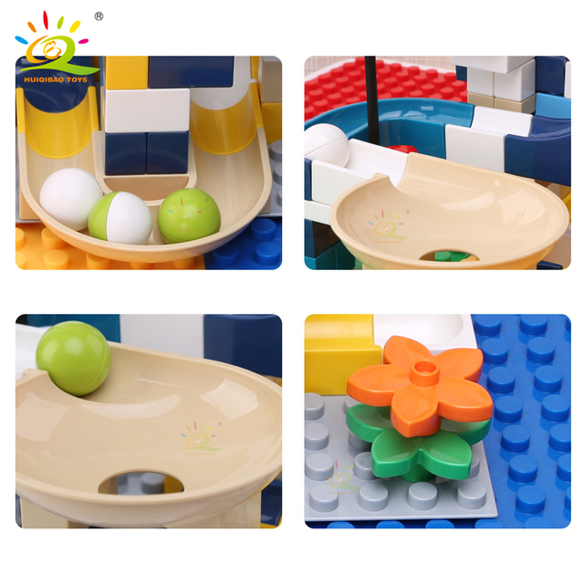 HUIQIBAO 80PCS Funnel Slide Marble Race Run Big Size Building Blocks Compatible Duploed Assembly large Bricks Toys for children