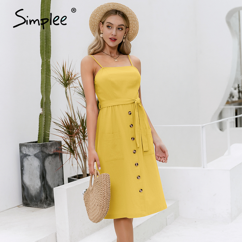 Simplee Casual Spaghetti Strap Summer Dress Chic Solid Buttons Belt Female Cotton Dress Holiday Beach Ladies Pockets Maxi Dress