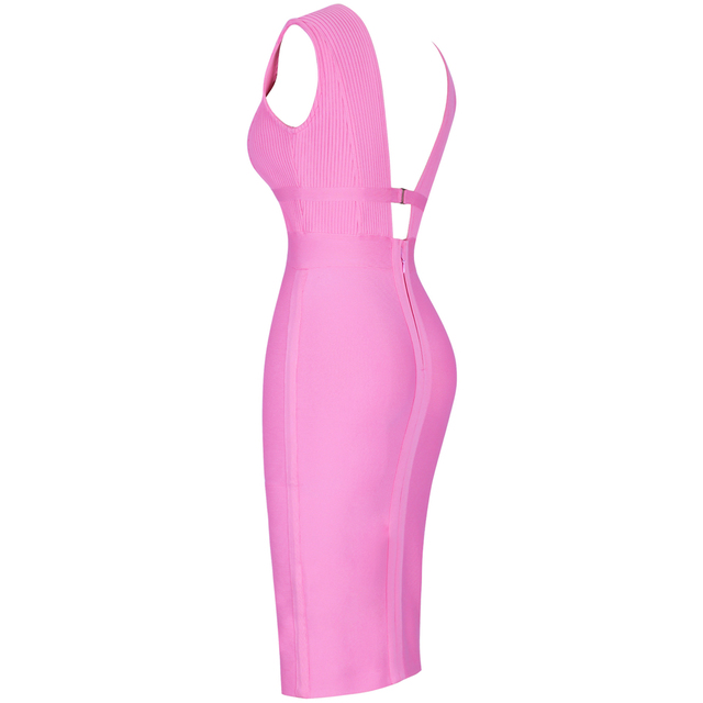 Ocstrade Summer 2019 Women Cut Out Bandage Dress Bodycon Sexy Double Deep v Neck Pink Bandage Dress Rayon Evening Party Dress 4