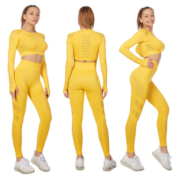 Женский спортивный костюм Vital, комплект для йоги, одежда для тренировок в тренажерном зале, укороченный топ с длинными рукавами для фитнеса +...