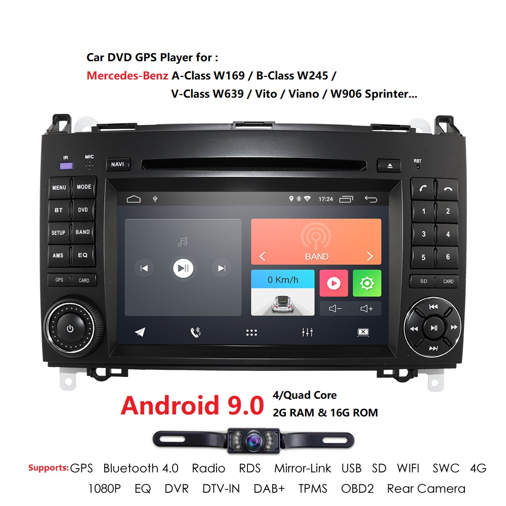 Car Multimedia Player Android 9.0 2 Din 2GB+16GB <font><b>GPS</b></font> Autoradio For <font><b>Mercedes</b></font> Benz B W245 B150 B160 B170 <font><b>B180</b></font> B200 B55 2004-2012 image