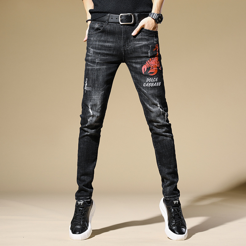 Autumn And Winter Black Embroidery With Holes Jeans Men's Elasticity Korean-style Trend Of Fashion Scraping Rotten Printed Slim