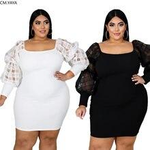 Cm. yaya outono plus size XL-6XL mulher lanterna manga comprida malha retalhos bodycon midi mini vestido vestidos