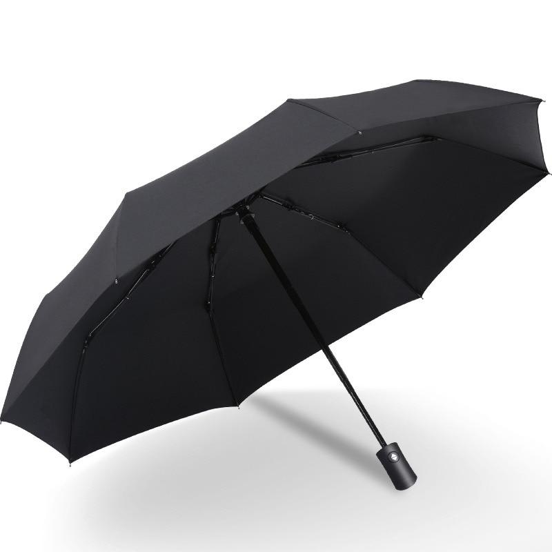 HLZS Black Coating Rain Sun Automatic Umbrella Anti UV 3 Folding Wind Resistant Auto Big Windproof Women Men 8 Ribs Parasol|Umbrellas| |  - title=