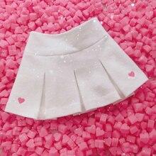 2021 Winter Spring High Waist Women Skirt Cute Embroidery Pleated Skirt Elastic Waist Mini Skirt Fresh Feeling A-Line Skirt
