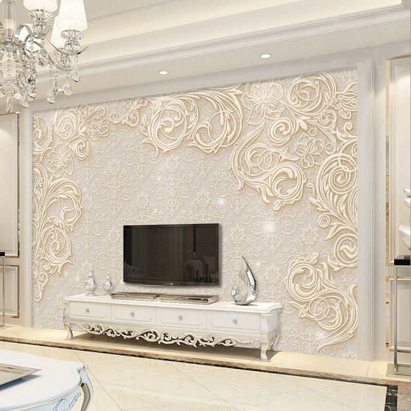 TV Backdrop Wallpaper 5D Wallpaper Living Room European Style Glorious Seamless Wall Cloth 3D TV Wall Relief Decorative Pattern