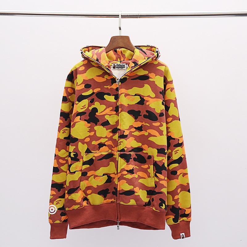 2019 Spring And Autumn New Style Plus Velvet Men's Sweatshirts & Hoodies Men And Women Couples Shark Orange Camouflage Pure Cott