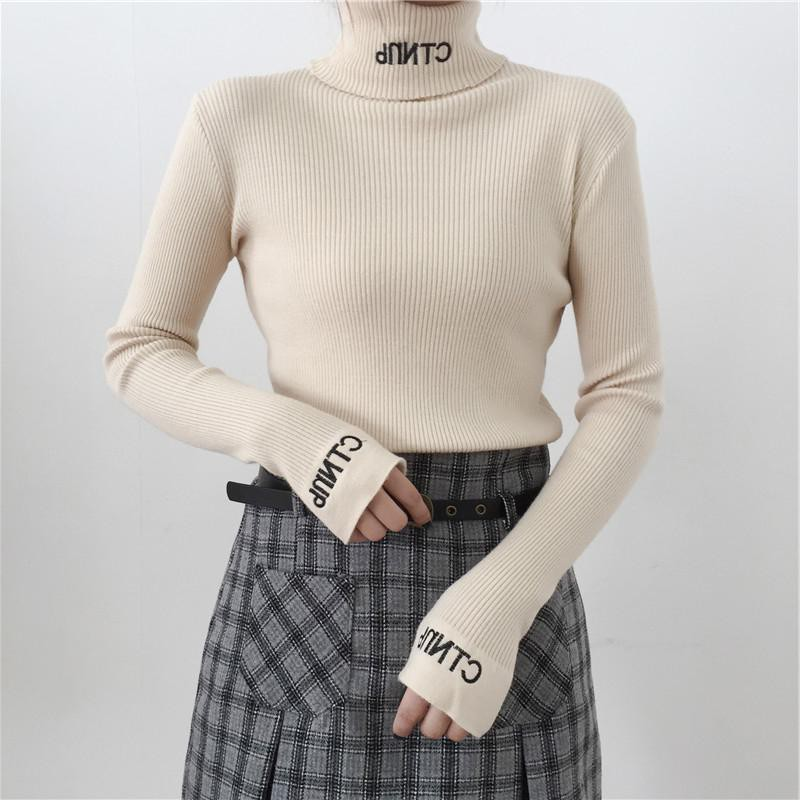 Pullover Sweater Jumper Letter Embroidery Turtleneck Warm Knitted Long-Sleeves Winter