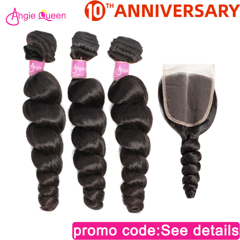 Angie Queen Loose Wave Brazilian Non Remy Hair Natural Color 100% Human Hair Bundles With Closure Lace Closure With 3 Bundles M