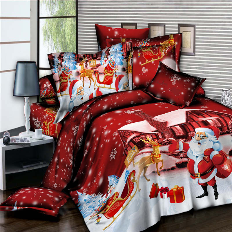 New Products Celebrate Merry Christmas Bedding Sets Twin Full Queen Size Duvet Cover Set 2/3/4 Pcs