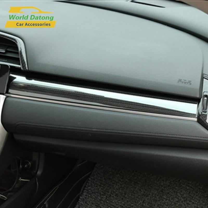 Интерьер автомобиля Dashboard хранения Крышка из нержавеющей стали украшения уравновешивания для Honda Civic десятым 2017 ~ 2018 LHD
