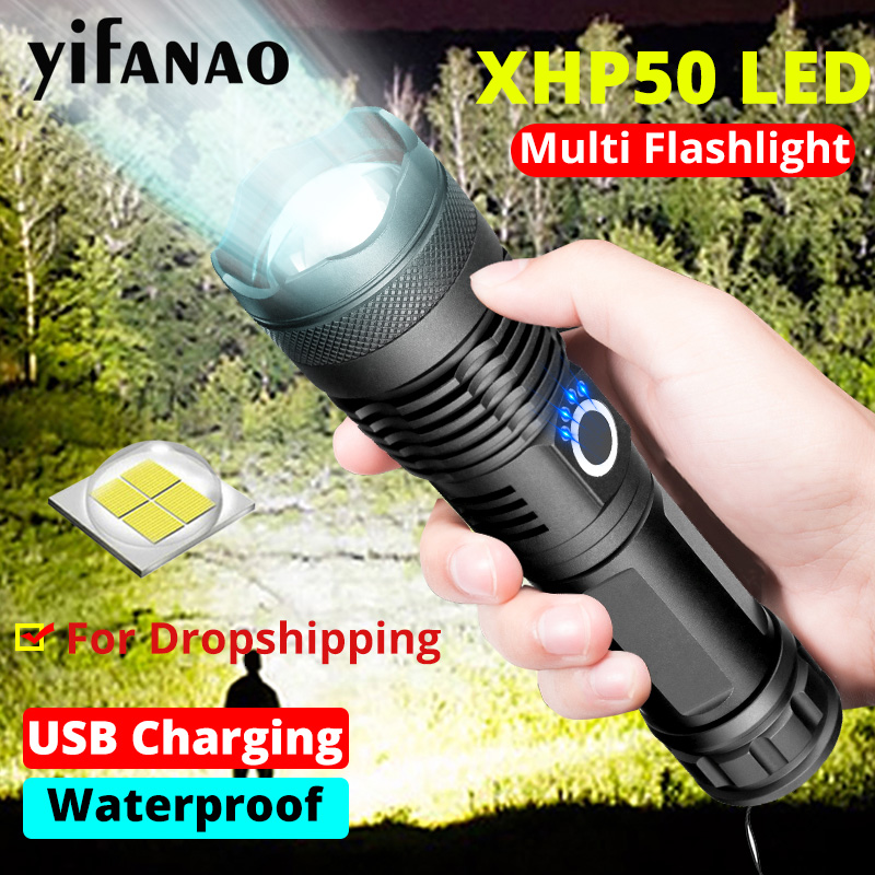 Dropshipping Flashlight Ultra Bright Xlamp XHP50.2 Zoom Shock Resistant USB Torch XHP50 18650 Or 26650 Rechargeable Flashlights