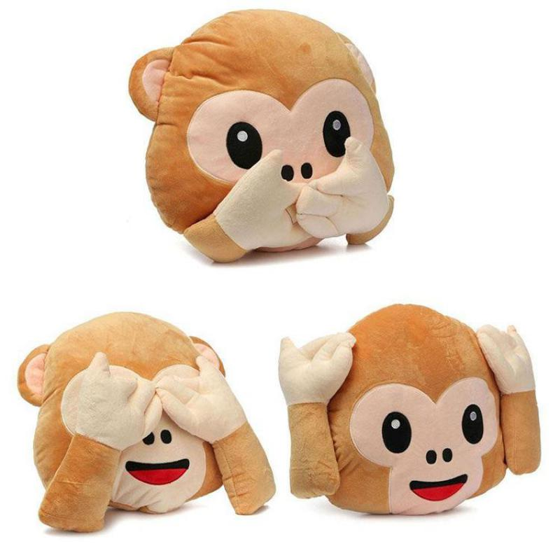 Cute Monkey Smiley Face Pillow Plush Expression Pillows Home Decorative Seat Chair Cushion Living Room Funny Pillows About 33cm