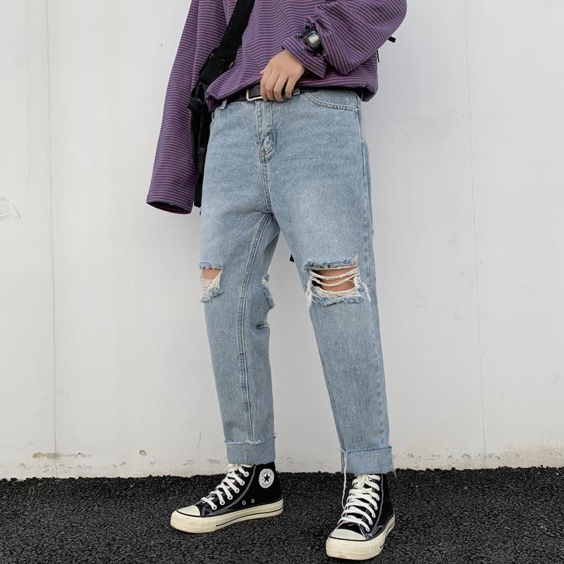Korean Style Fashion Men Jeans Spring Summer Destroyed Ripped Harem Pants Denim Baggy Jeans Blue Color Streetwear Hip Hop Jeans