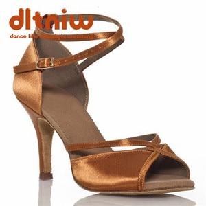 Customize Heels Women's Latin Dance Shoe Satin Buckle Ballroom Dancing Shoes with Wide Width Zapatos de baile Latino Mujer(China)