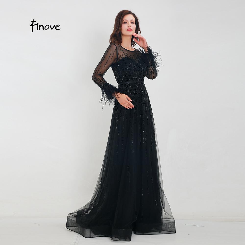 Image 2 - Finove Gorgeous Black Evening Dress 2020 A Line Gowns Full Sleeves Feathers Neck Line Long Floor Length Elegant Formal DressesEvening Dresses   -