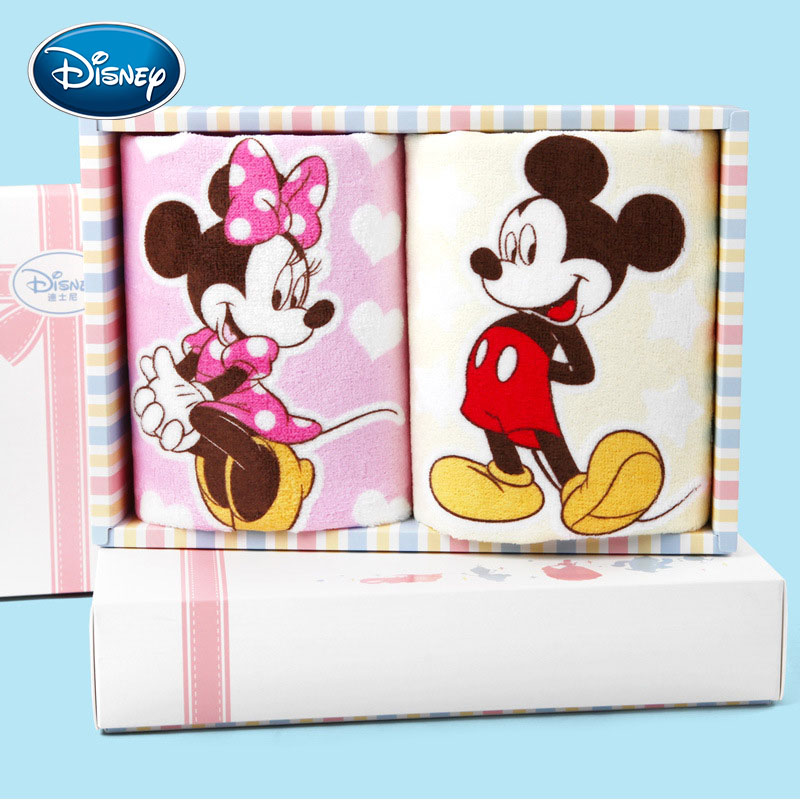 Disney Cartoon Print Child Face Towel 100% Cotton Soft Children Hand Towel 25*50cm Gift Boxes Dropshipper 2-Pieces Towel Sets