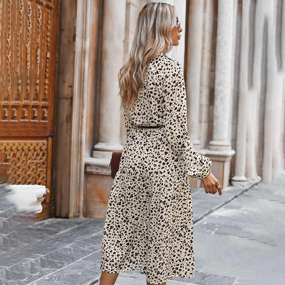 Lange Kleid Herbst Winter Mode Schwarz Elegante Damen Leopard Print Langarm  Kleidung Kleider Für Frauen Neue Ankunft 9 Herbst