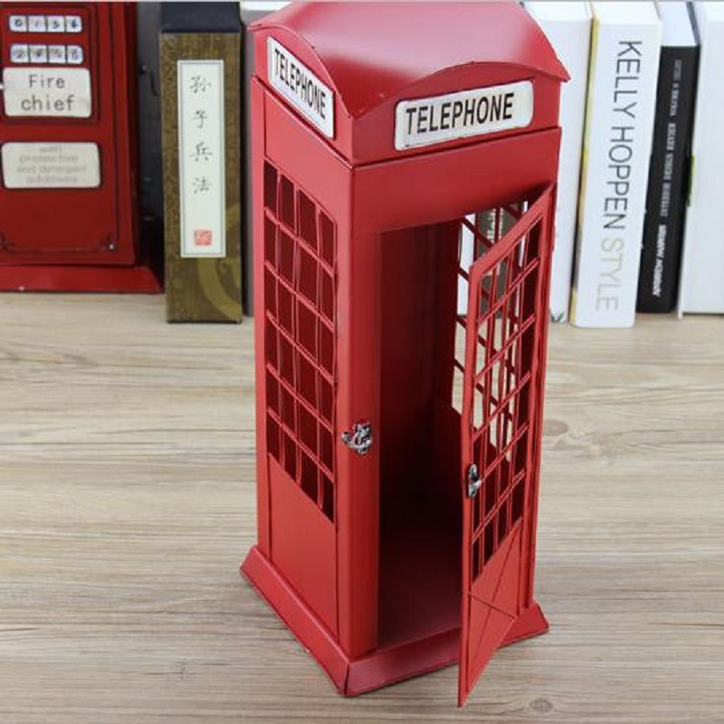 Pure handmade retro iron phone booth with clocks and antique telephone creative studio clothing store decoration image