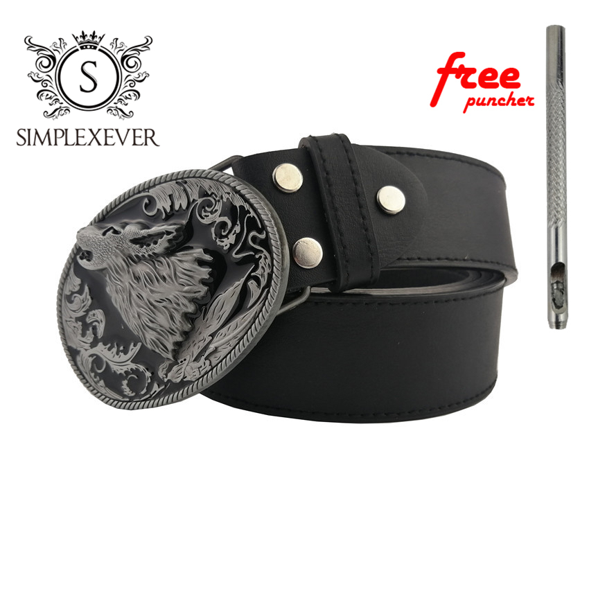 Wolf Design Mens Belt Buckle Head With Leather Belt Silver Animal Belt Buckle Jeans Accessories