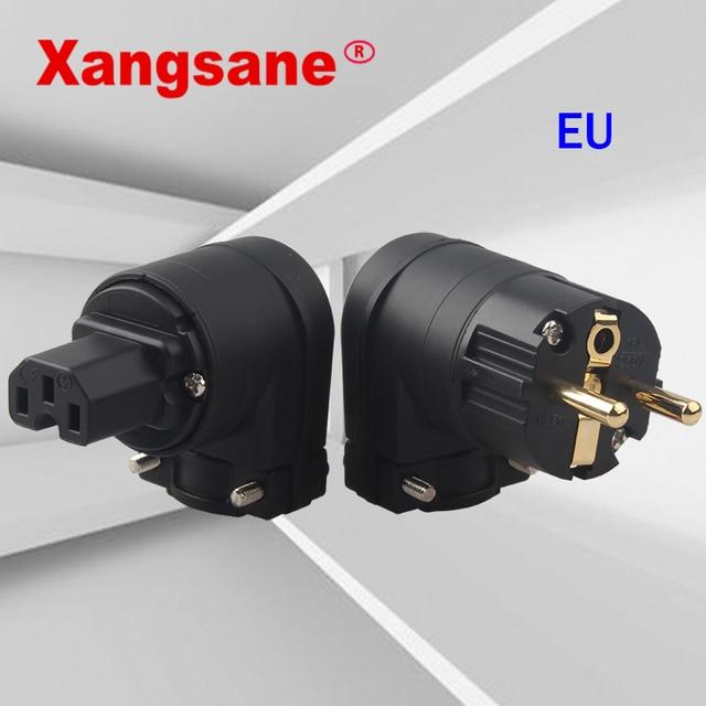XANGSANE L בצורת מעוקל F1 12 נחושת זהב מצופה האיחוד האירופי תקע חשמל התוספת HiFi אודיו תקע תקע ב 1 סט
