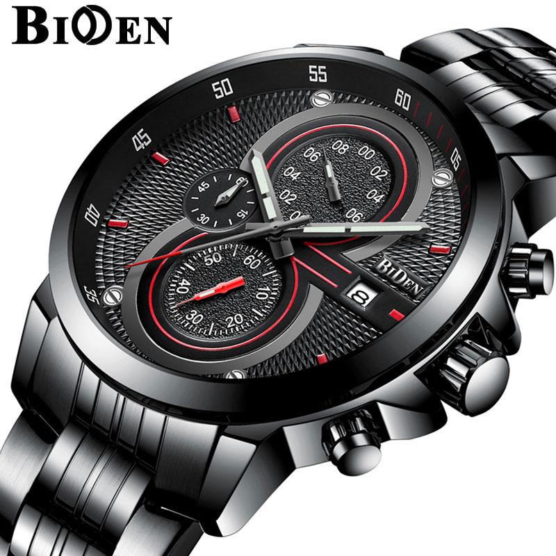 Man Watch BIDEN Luxury Brand Steel Strap Business Quartz Watch Military Army Waterproof Sports Watch Men Relogio Masculino