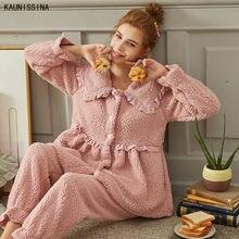 Женские зимние пижамные комплекты утолщенные теплые ночные костюмы