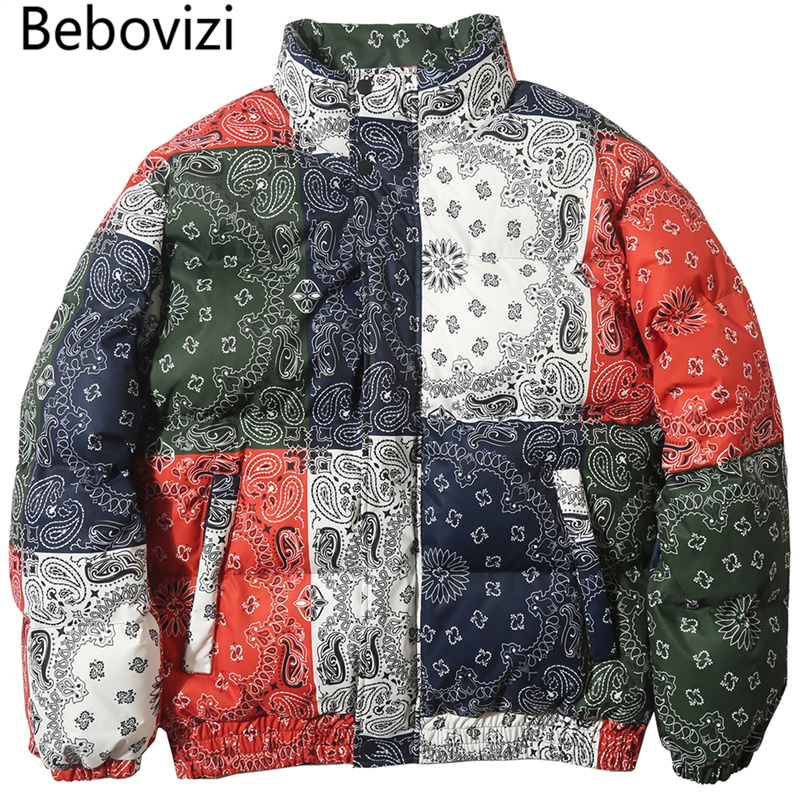 Bebovizi Harajuku Cashew Flowers Print Thick Padded Parkas Color Block Patchwork Cotton Streetwear Hip Hop Puffer Parka Jackets