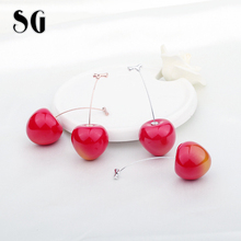 SG New Trendy 100% 925 Sterling Silver & Rose Gold Korean Red cherries Long Drop earrings for 2019 Women Fashion Jewelry Gifts